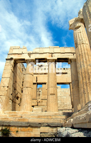 Columns and pillars of the Propylaea entrance to the Acropolis in Athens Greece - Stock Photo