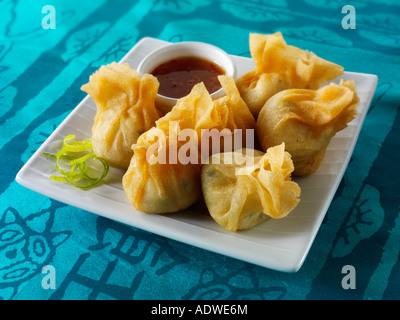 Oriental dim sum with a hoisin dipping sauce - Stock Photo