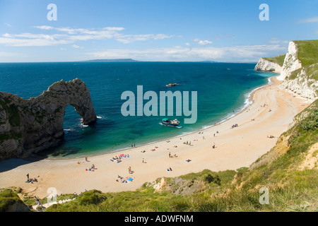 Durdle Door beach and 'Bats Head' seascape on sunny summers day Dorset England UK United Kingdom GB Great Britain - Stock Photo