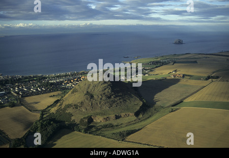 Volcanic Features Aerial view of two volcanic plugs of North Berwick Law and Bass Rock Lothian Scotland - Stock Photo