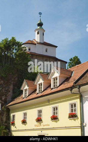 Slovenia Kamnik Pension Kamrica on hill behind the Little Castle with two storey Romanesque chapel - Stock Photo