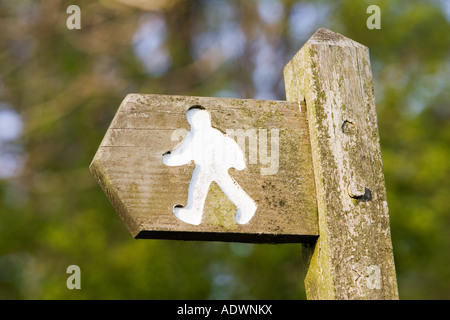 Footpath sign Chedworth Gloucestershire United Kingdom - Stock Photo