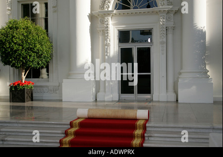 The White House Washington DC with red carpet rolled up United States of America - Stock Photo