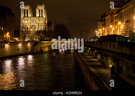 Cathedral Notre Dame de Paris at night on ële de la Cit by the river Seine Paris France - Stock Photo