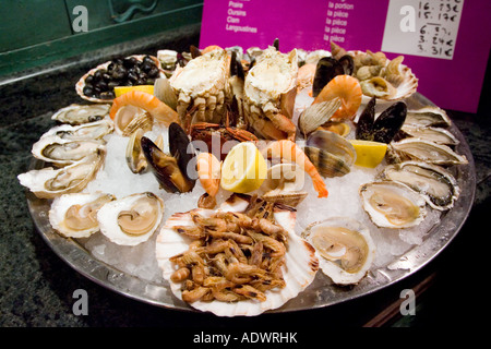 Ready to eat seafood platter at Le Petit Zinc Restaurant near Boulevard Saint Germain Left Bank Paris France - Stock Photo