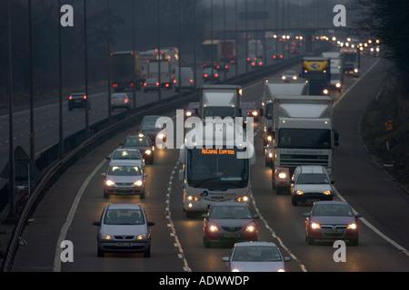 Southbound traffic on M1 Motorway in Northampton United Kingdom - Stock Photo