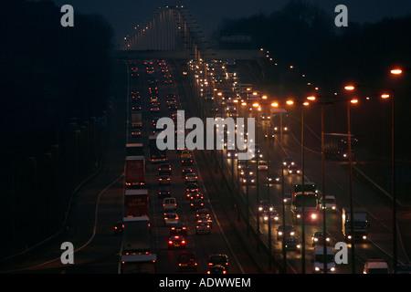 Traffic on M1 Motorway near Hertfordshire United Kingdom - Stock Photo