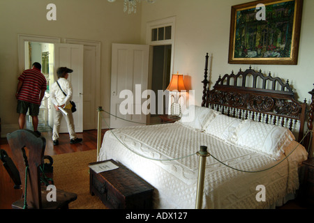 Key West Florida The Keys USA Ernest Hemingways Bedroom in his home on Whitehead Street - Stock Photo
