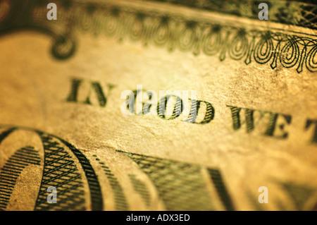 A one dollar US Bill money close up - Stock Photo