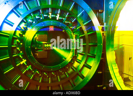 abstract view of bank vault door - Stock Photo