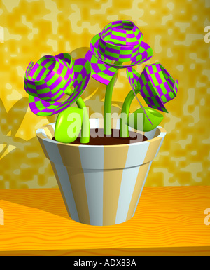 Illustrations vase striped stripes orange colorful purple green 3 three flowers conceptual spatial miscellaneous - Stock Photo