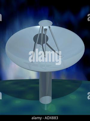Illustrations satellite dish graphic virtual image transmission aerial cg computer technology parabolic antenna - Stock Photo
