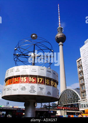 World Time Clock and the Television Tower in Alexanderplatz Mitte in Berlin Germany 2005 - Stock Photo