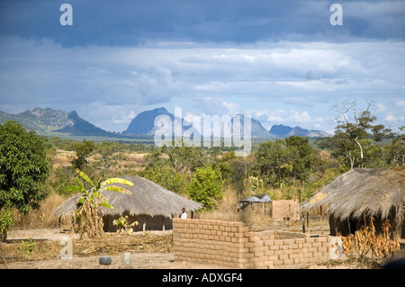 African Village With Thatched Rondavel Huts In The