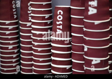 Paper drinks cups in a Costa coffee shop, UK - Stock Photo