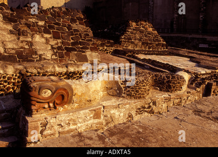 carved feathered serpent, Museo del Templo Mayor, Mexico City, Federal District, Mexico - Stock Photo