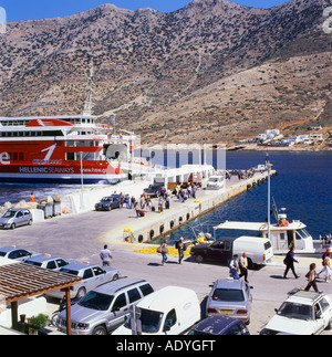 Kamares Sifnos Greek Island ferry arriving at quay - Stock Photo