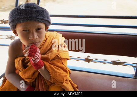 Portrait Of Monk Travelling In Tuk Tuk - Stock Photo