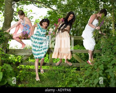 Children climbing over tree trunk Stock Photo: 29050714 ...