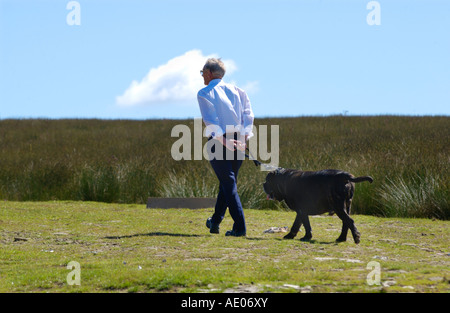 Man walking big black dog on lead across open hillside moorland near Llanhilleth Blaenau Gwent South Wales UK - Stock Photo