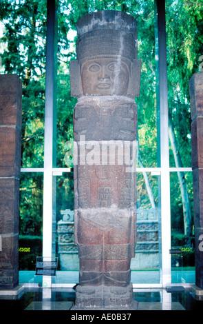 Atlante Statue from Tula National Museum of Anthropology Museo Nacional de Antropologia Mexico City Mexico - Stock Photo