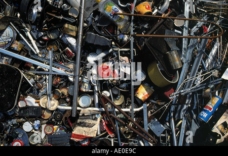 steel and iron scrap collected for recycling - Stock Photo