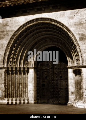 Romanesque Almoyna's Door. Cathedral of Valencia. Spain - Stock Photo