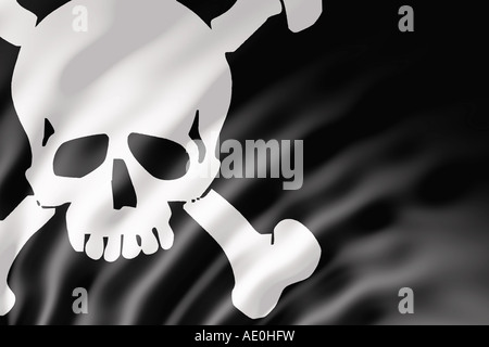 The Pirate flag or Jolly Roger shown with ripples caused by the wind - Stock Photo