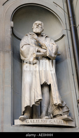 Galileo sculpture statue, Uffizi Gallery exterior, Florence - Stock Photo