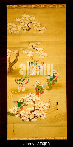 Scenes from a tale of Genji of Hatsune and Kocho by Ttaya Keishu 1786 1831 Colar on Silk Edo period Japan Museum - Stock Photo