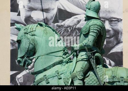 Sweden, Goteborg, Statue of horseman - Stock Photo