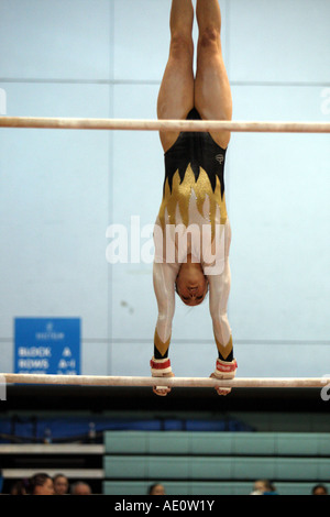 elizabeth beth tweddle british and world gymnast performing on bars at the 2007 british gymnastics championships - Stock Photo