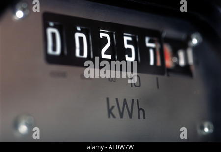 Domestic electricity meter in a property in Bawdsey, Suffolk, UK. - Stock Photo