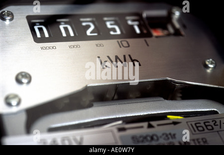 Domestic electricity meter inside a house in Bawdsey, Suffolk, UK. - Stock Photo