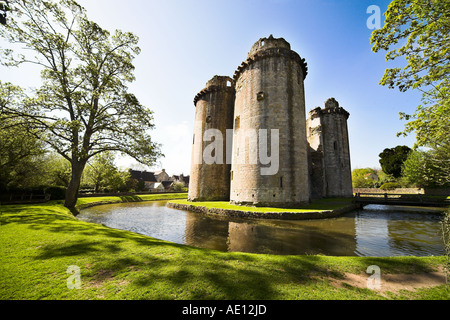 Nunney Castle and Moat, Somerset - Stock Photo