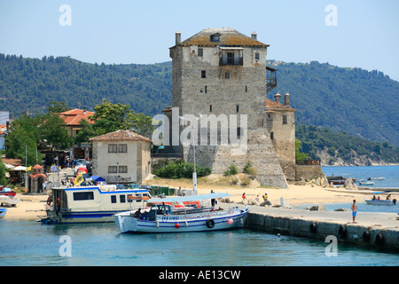 Tower of Prosphorion at Ouranoupolis on the Athos Peninsula on the peninsula of Chalcidice in Greece - Stock Photo