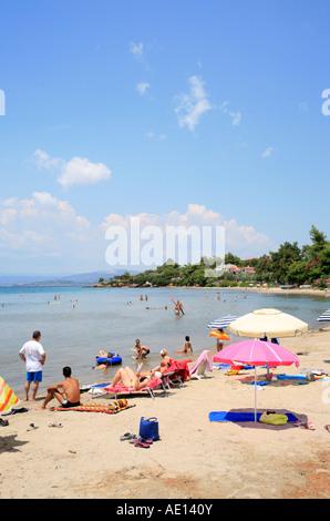 Elia Beach on Sithonia Peninsula on the peninsula of Chalcidice in Greece - Stock Photo