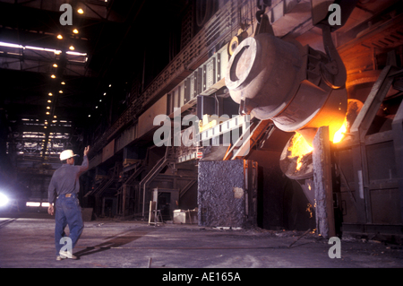 Steel furnace at SAIL Steel Authority of India Ltd plant Durgapur West Bengal India - Stock Photo