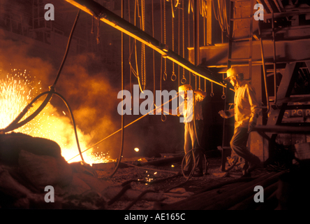Steel furnace at SAIL Steel Authority of India Ltd plant Bokaro Jharkhand India - Stock Photo