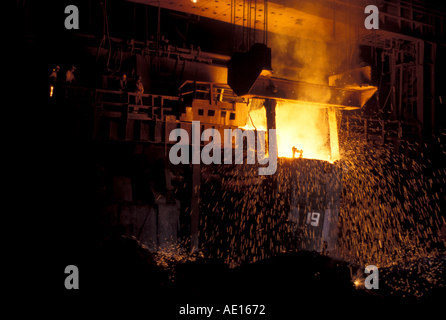 Steel furnace at SAIL Steel Authority of India Ltd plant Burnpur India