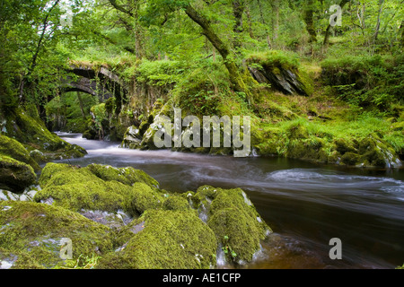 tranquil scene of the river conwy flowing beneath a pack horse bridge outside Penmachno, Betws-y-Coed - Stock Photo