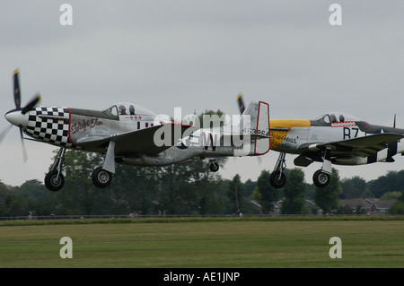 P51 Mustangs flying at Goodwood Revival 2006 - Stock Photo