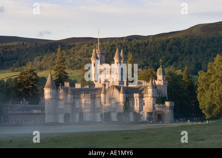 Autumn Haze at Balmoral Scottish castle at Crathie - Royal residences of the British Monarch - Deeside, Scotland, - Stock Photo