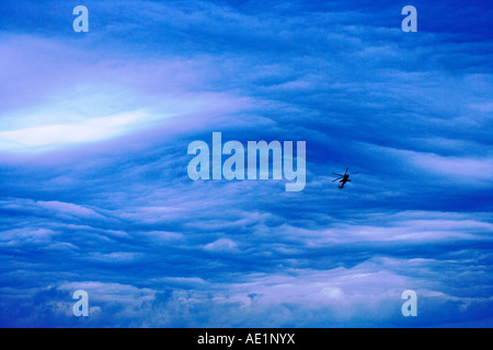 Military helicopter deep in blue sky formation - Stock Photo