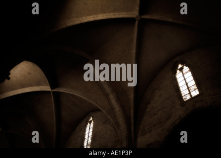 Gothic vault. Cathedral of Valencia. Spain - Stock Photo
