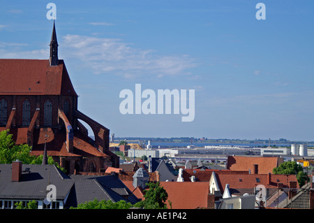 view over Wismar Baltic Sea Germany - Stock Photo