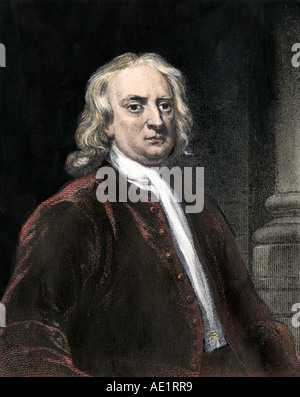 Sir Isaac Newton. Hand-colored steel engraving - Stock Photo