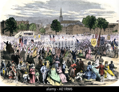Celebration of the abolition of slavery in Washington DC 1865. Hand-colored woodcut - Stock Photo