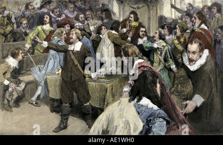 Oliver Cromwell making his first speech in Parliament March 2 1629. Hand-colored halftone of an illustration - Stock Photo