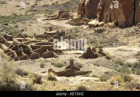 Anasazi Ancestral Puebloan ruins of Chetro Ketl in Chaco Canyon National Historical Park New Mexico. Digital photograph - Stock Photo